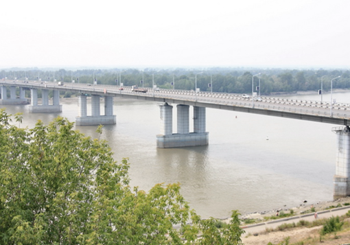 Bridge crossing over the Ob River to Novosibirsk